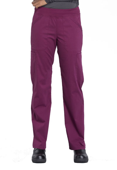 Workwear WW Professionals Women's Mid Rise Straight Leg Pull-on Cargo Pant Red