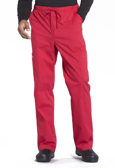 Workwear WW Professionals Men Men's Tapered Leg Drawstring Cargo Pant Red