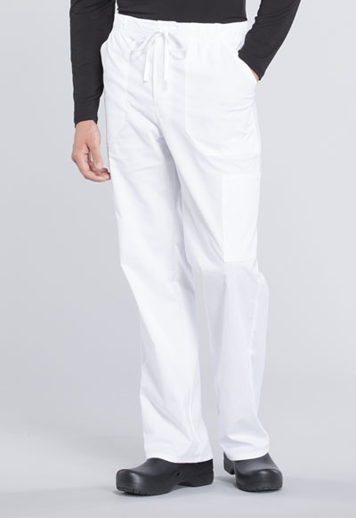 WW Professionals Men's Men's Tapered Leg Drawstring Cargo Pant White
