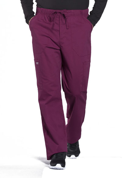 WW Professionals Men's Men's Tapered Leg Drawstring Cargo Pant Red
