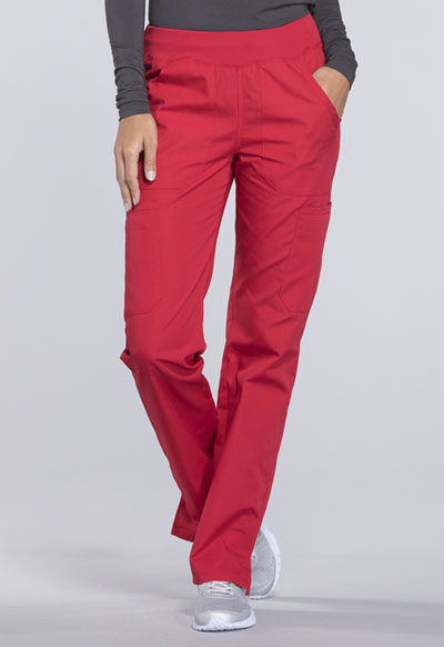 WW Originals Women's Mid Rise Straight Leg Pull-on Cargo Pant Red