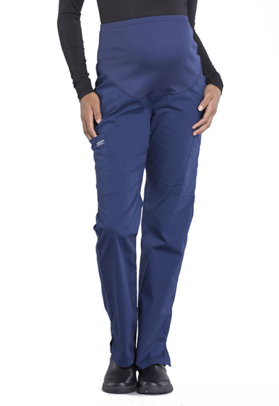 Workwear WW Professionals Women's Maternity Straight Leg Pant Blue