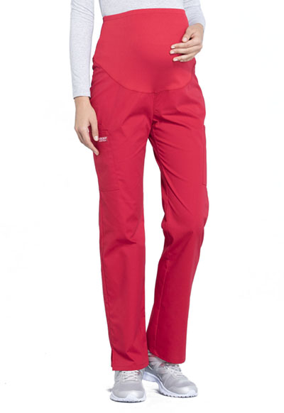Workwear WW Professionals Women's Maternity Straight Leg Pant Red