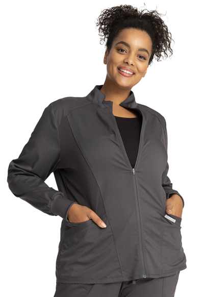WW Revolution Women Zip Front High-Low Jacket Gray