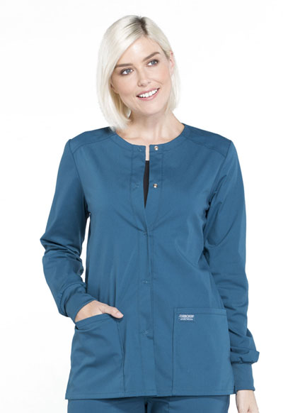 Workwear WW Professionals Women Snap Front Jacket Blue