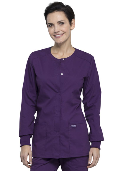 Workwear WW Professionals Women's Snap Front Warm-up Jacket Purple