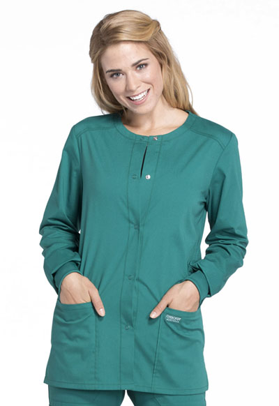Workwear WW Professionals Women's Snap Front Jacket Green
