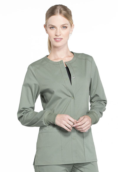 709a079d987 Photograph of WW Professionals Women's Snap Front Warm-up Jacket Green  WW340-OLV
