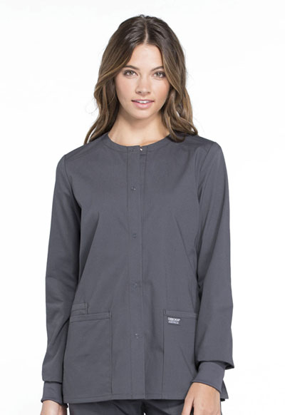 Workwear WW Professionals Women Snap Front Jacket Gray