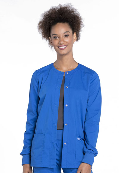 Workwear WW Professionals Women's Snap Front Warm-up Jacket Blue