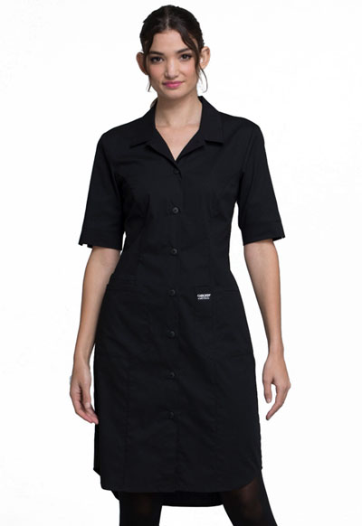 Workwear WW Professionals Women's Button Front Dress Black