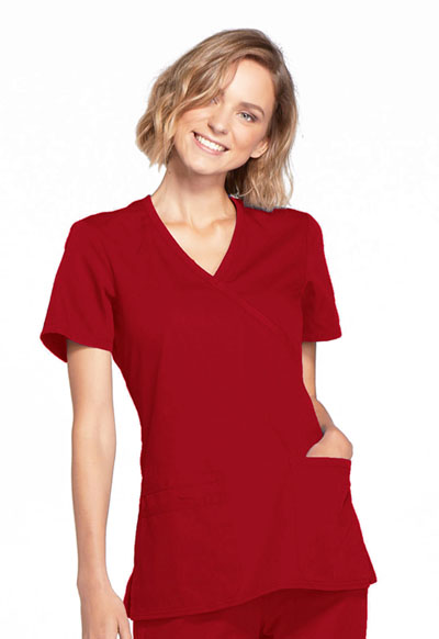 WW Originals Women's Mock Wrap Top Red