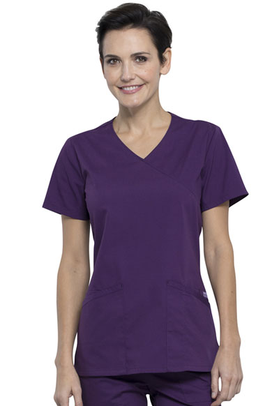 Workwear WW Professionals Women's Mock Wrap Top Purple