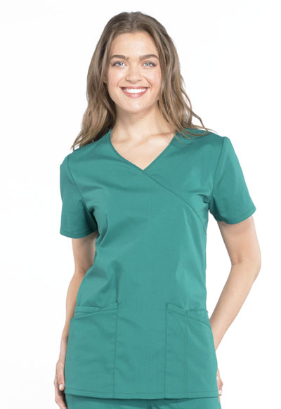 WW Professionals Women's Mock Wrap Top Green
