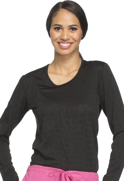 WW Core Stretch Women's Long Sleeve Underscrub Knit Tee Black