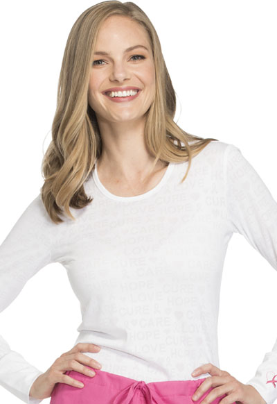 WW Core Stretch Women's Long Sleeve Underscrub Knit Tee White