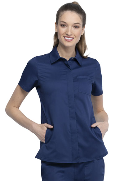 WW Revolution Women Hidden Snap Front Collar Shirt Blue