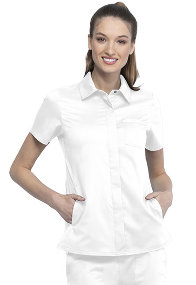 WW Revolution Women's Hidden Snap Front Collar Shirt White