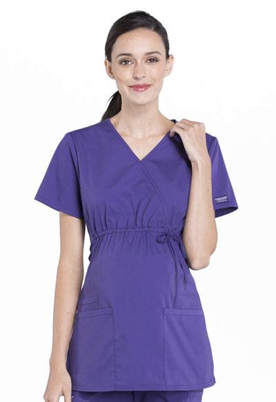 f4dab561cae2e Photograph of WW Professionals Women's Maternity Mock Wrap Top Purple  WW685-GRP
