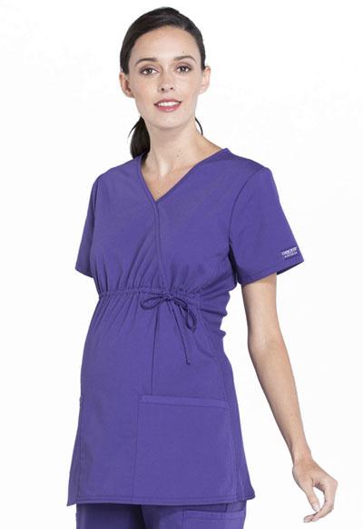 794e2f737d6 Photograph of WW Professionals Women's Maternity Mock Wrap Top Purple  WW685-GRP