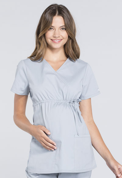 Workwear WW Professionals Women Maternity Mock Wrap Top Gray