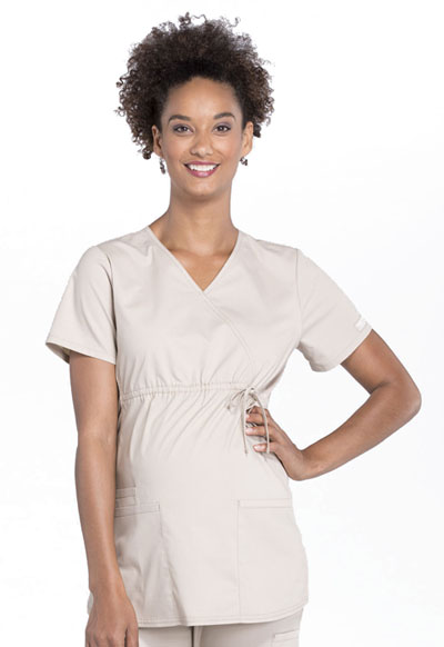 WW Professionals Women's Maternity Mock Wrap Top Brown