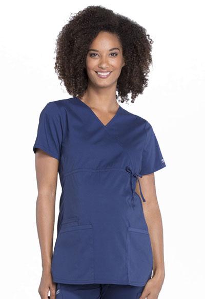 0086439690a Photograph of WW Professionals Women's Maternity Mock Wrap Top Blue  WW685-NAV