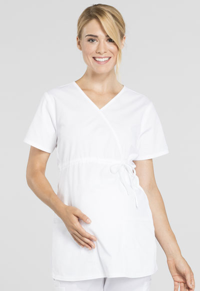 3d82a8f4a69ab WW Professionals Maternity Mock Wrap Top in White WW685-WHT from ...