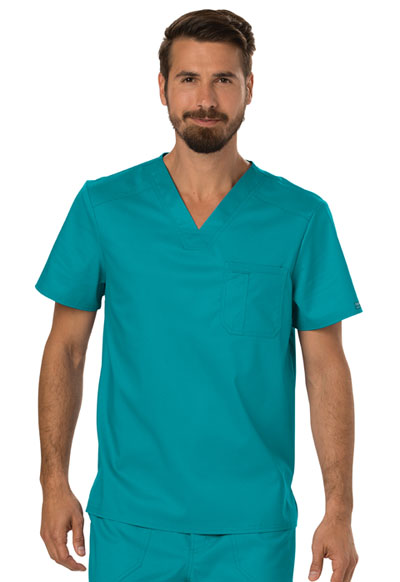 V-Neck Top:WW690//Pant:WW140 Cherokee Workwear Men/'s Scrub Set Caribbean Blue