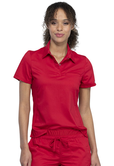 WW Revolution Women Tuckable Snap Front Polo Shirt Red