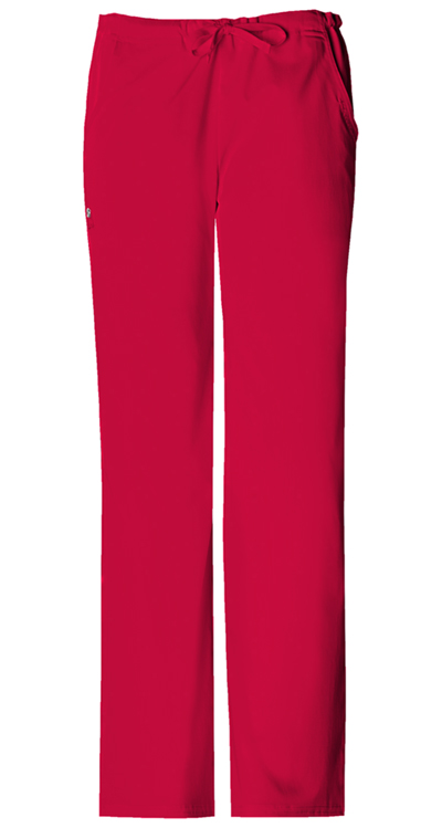 Cherokee Luxe Women's Low Rise Straight Leg Drawstring Pant Red