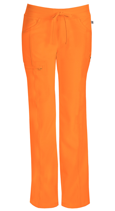 Infinity by Cherokee Women's Low Rise Straight Leg Drawstring Pant Orange