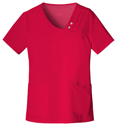 Luxe Women's Crossover V-Neck Pin-Tuck Top Red
