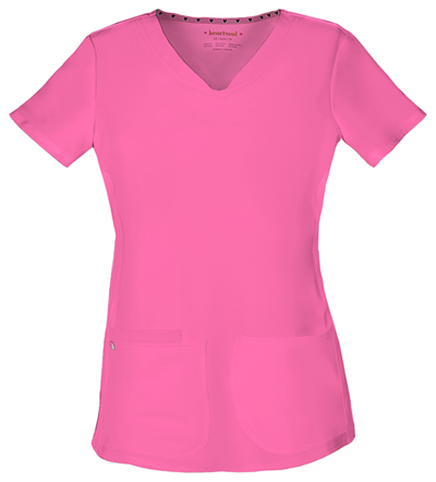 HeartSoul Break on Through Women's Pitter-Pat Shaped V-Neck Top Pink