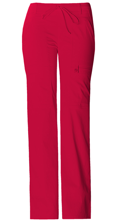 Cherokee Luxe Women's Low Rise Flare Leg Drawstring Cargo Pant Red