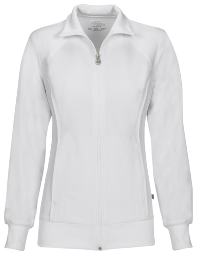 Infinity by Cherokee Women's Zip Front Warm-Up Jacket White