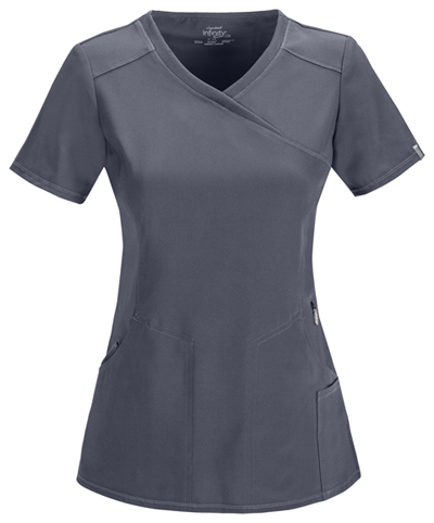 Infinity Women's Mock Wrap Top Gray