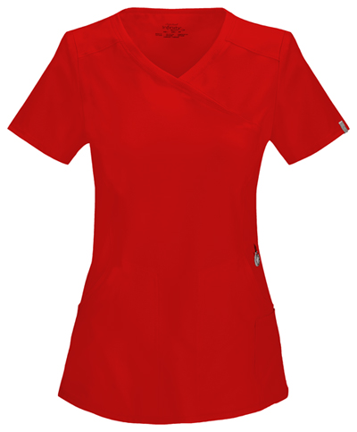 Infinity Women Mock Wrap Top Red