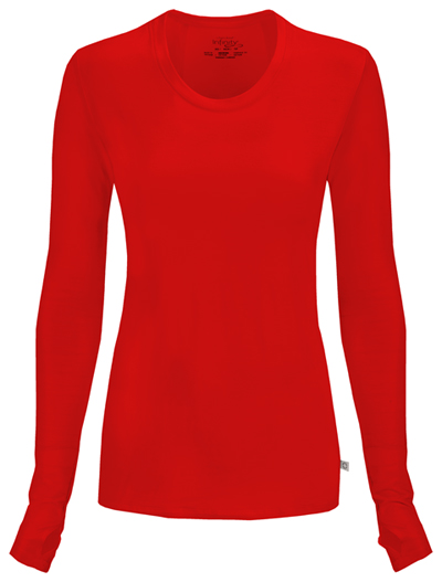 Infinity Women Long Sleeve Underscrub Knit Tee Red