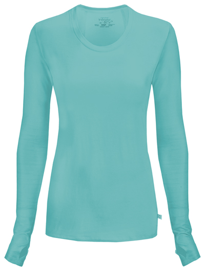 Infinity Women Long Sleeve Underscrub Knit Tee Blue