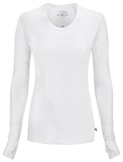 Infinity Women Long Sleeve Underscrub Knit Tee White