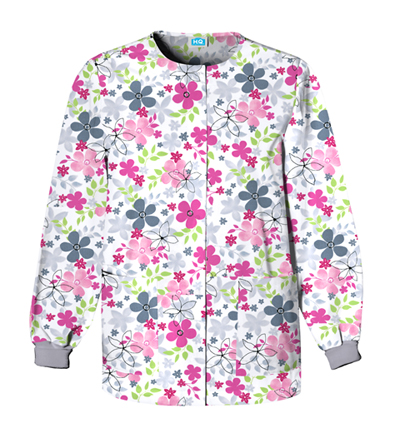 Cherokee Prints Women's Snap Front Warm-Up Jacket White