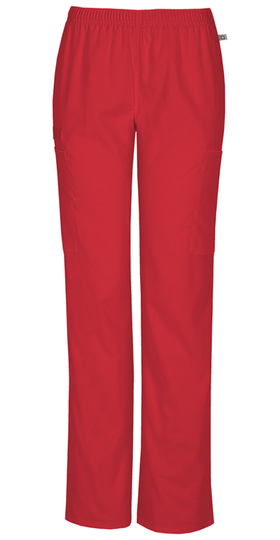 Workwear WW Flex Women Mid Rise Straight Leg Elastic Waist Pant Red