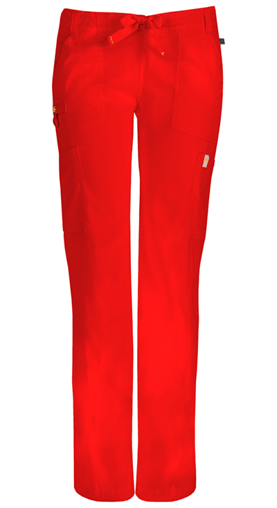 Code Happy Bliss Women's Low Rise Straight Leg Drawstring Pant Red