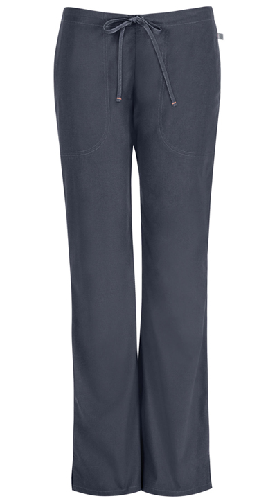 Code Happy Bliss Women's Mid Rise Moderate Flare Drawstring Pant Gray