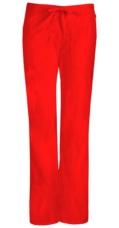 Bliss Women's Mid Rise Moderate Flare Drawstring Pant Red