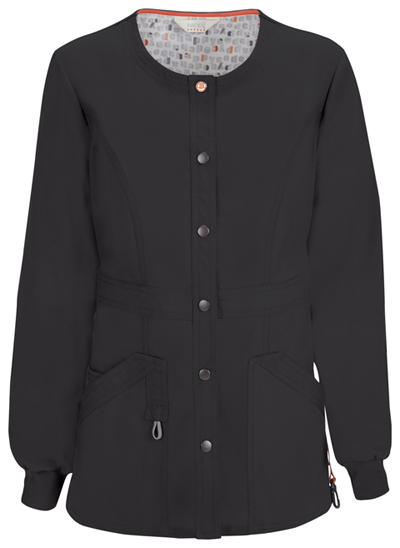 Code Happy Bliss Women's Snap Front Warm-up Jacket Black