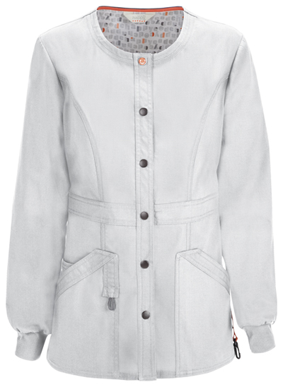 Code Happy Bliss Women's Snap Front Warm-up Jacket White