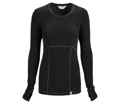 Code Happy Bliss Women's Long Sleeve Underscrub Knit Tee Black
