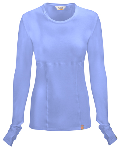 Code Happy Bliss Women's Long Sleeve Underscrub Knit Tee Blue